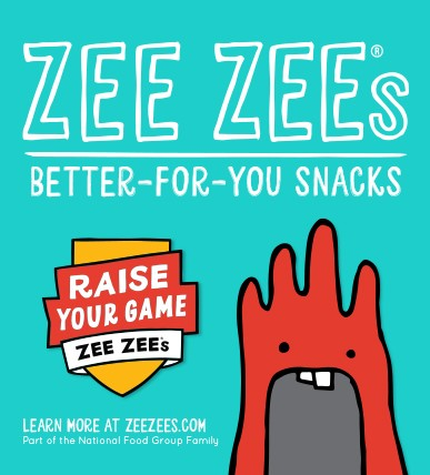 ZEE ZEE's Ad. Better for you snacks. Raise your game Zee Zee's. Learn more at zeezee.com Part of the Nationa Food Group Family.